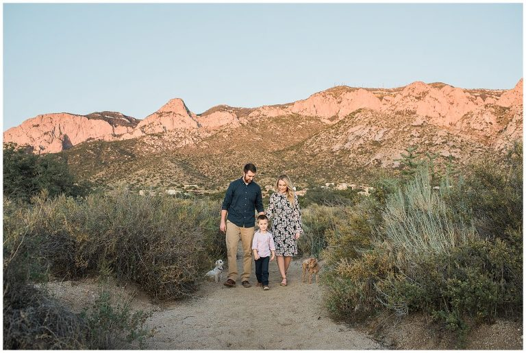Family pictures in the Sandia foothills at sunset, Albuquerque family photographer.